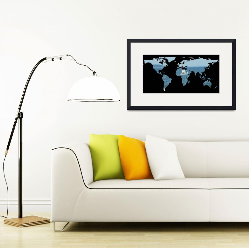 """World Map Silhouette - Sailing&quot  by Alleycatshirts"