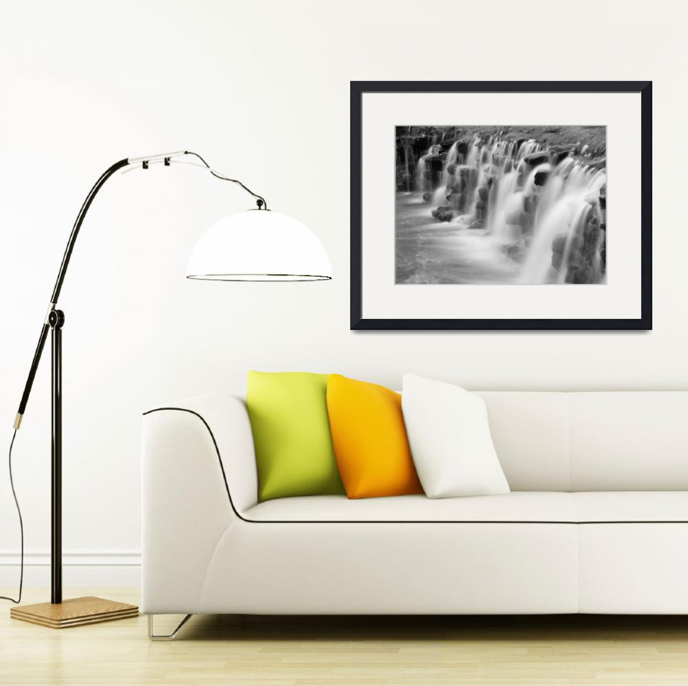 """Falls at Sharon Woods in Black and White&quot  (2012) by Referenceace"