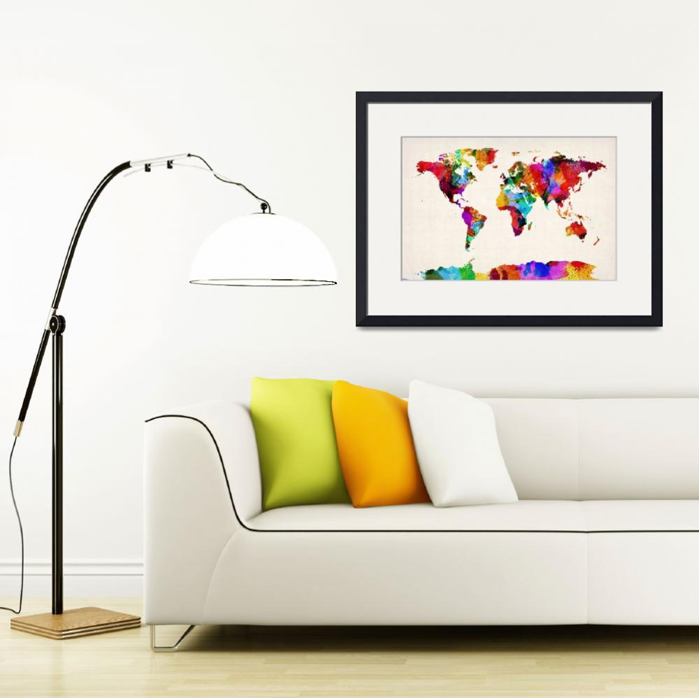 """Map of the World Map Abstract Painting&quot  (2012) by ModernArtPrints"