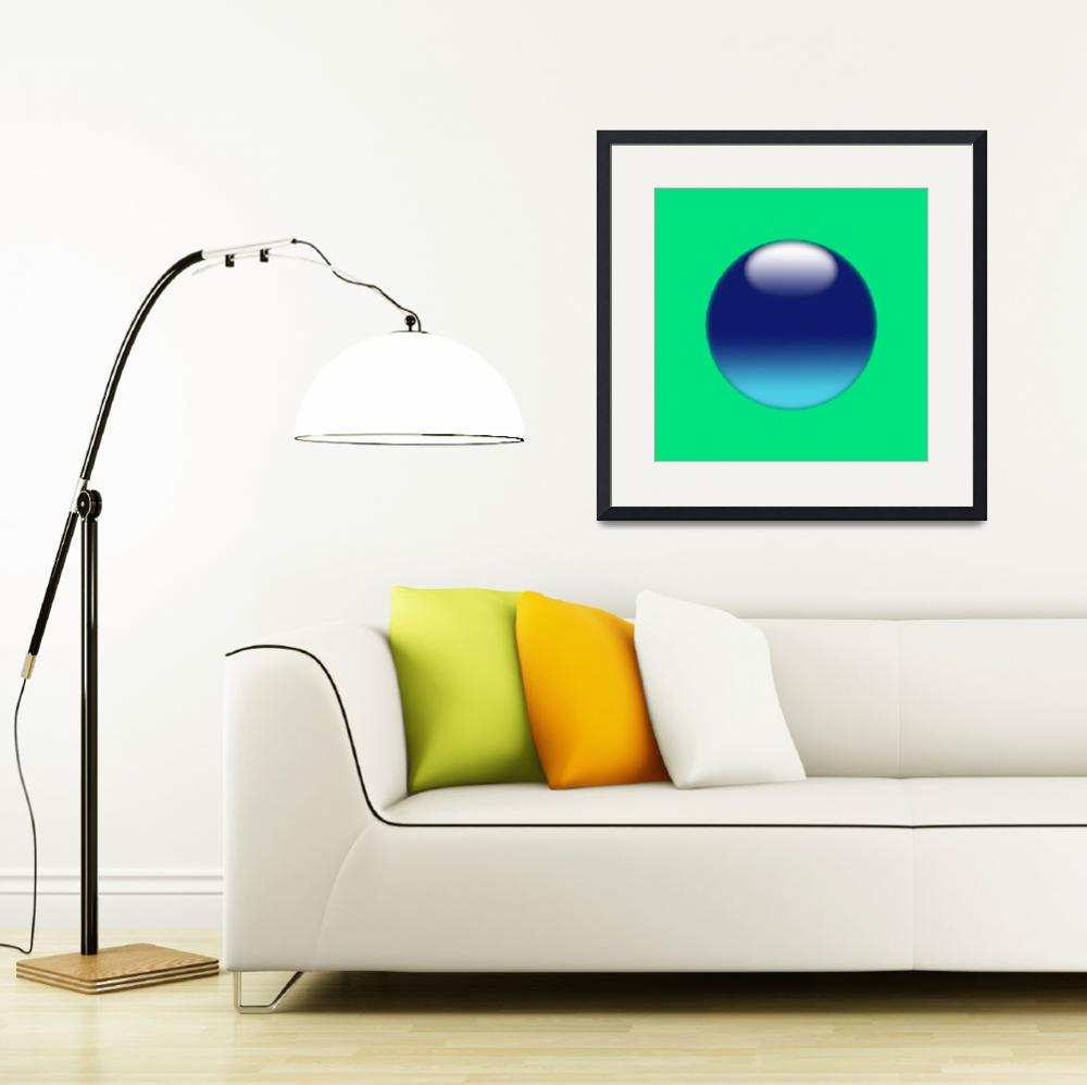 """Blue sphere on light green background copia&quot  (2010) by Bayardo"