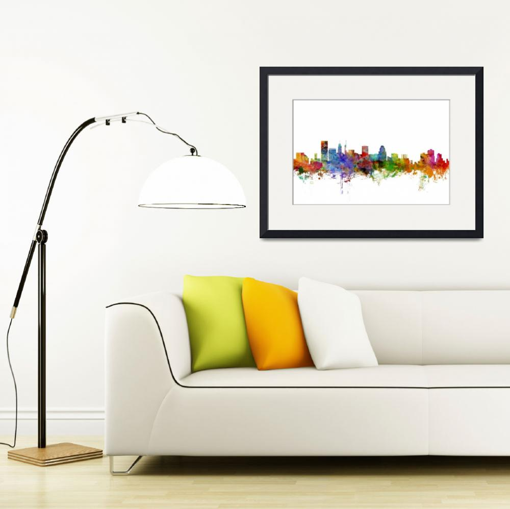 """Baltimore Maryland Skyline&quot  (2014) by ModernArtPrints"