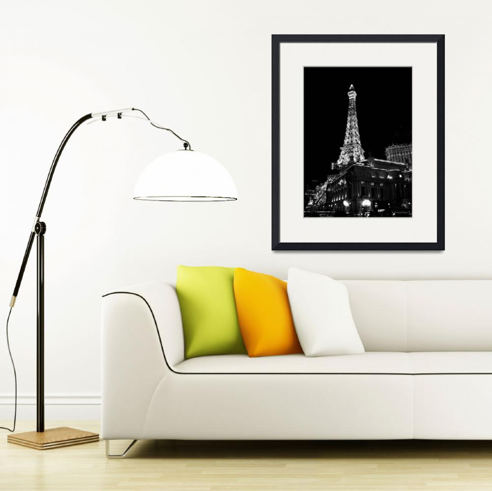 """Eiffel Tower: Black and White Night View&quot  by SanjayNayar"