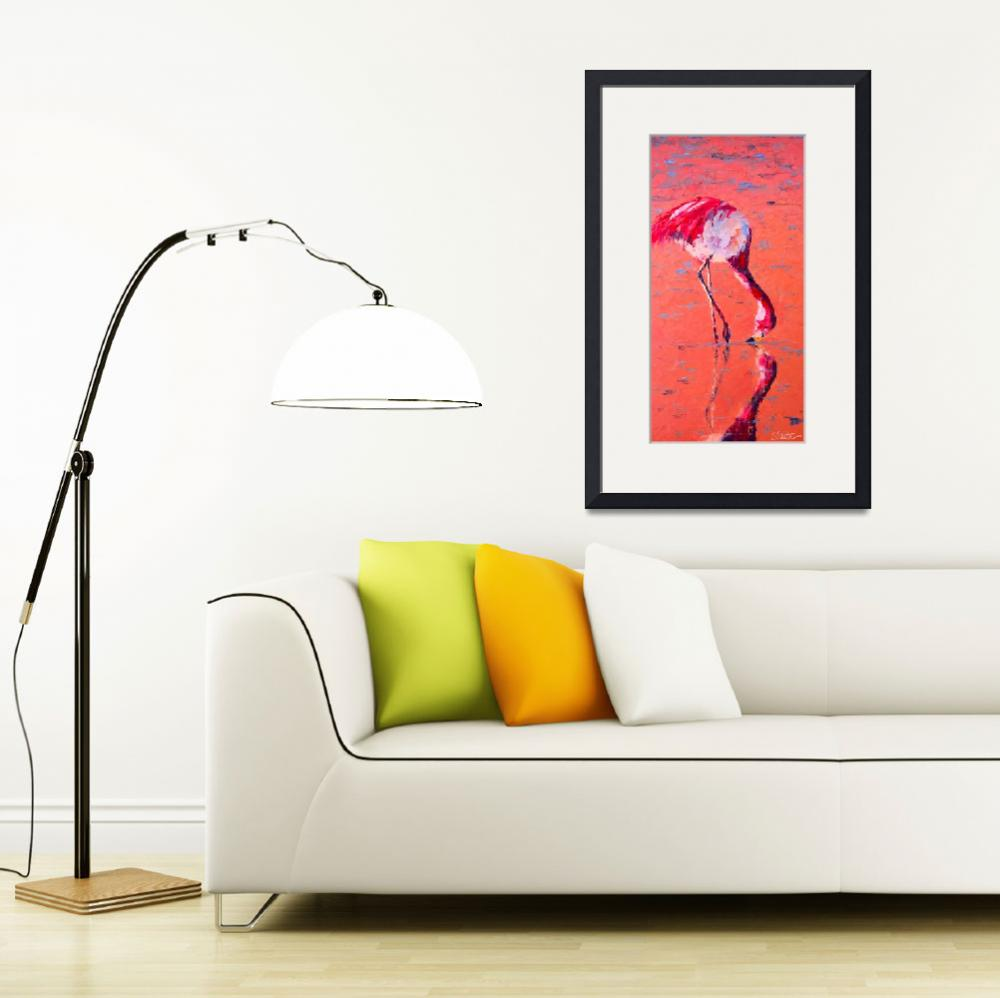 """Flamingo&quot  (2010) by LeslieSaetaFineArt"
