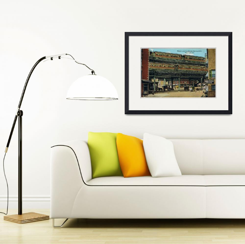 """Bowery NYC Double Decker Elevated Train&quot  by Alleycatshirts"