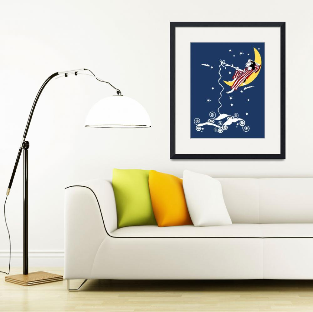 """Dog Fishing from the Moon&quot  (2008) by kristensteinfineart"