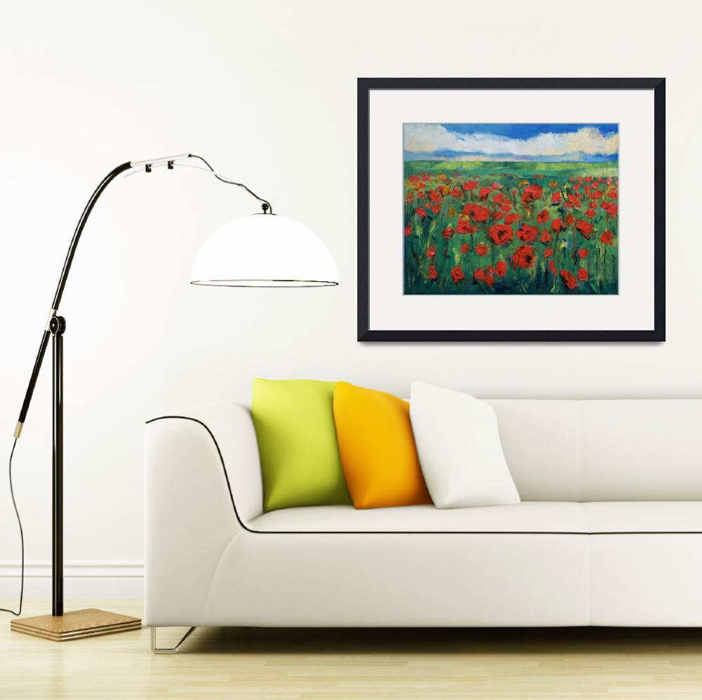 """Field of Red Poppies&quot  by creese"
