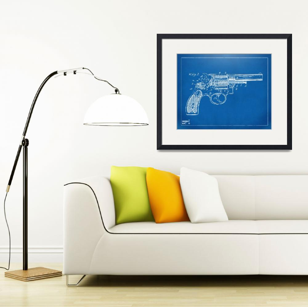 """Wesson 1896 Revolver Patent Minimal Blueprint&quot  (2014) by nikkismith"