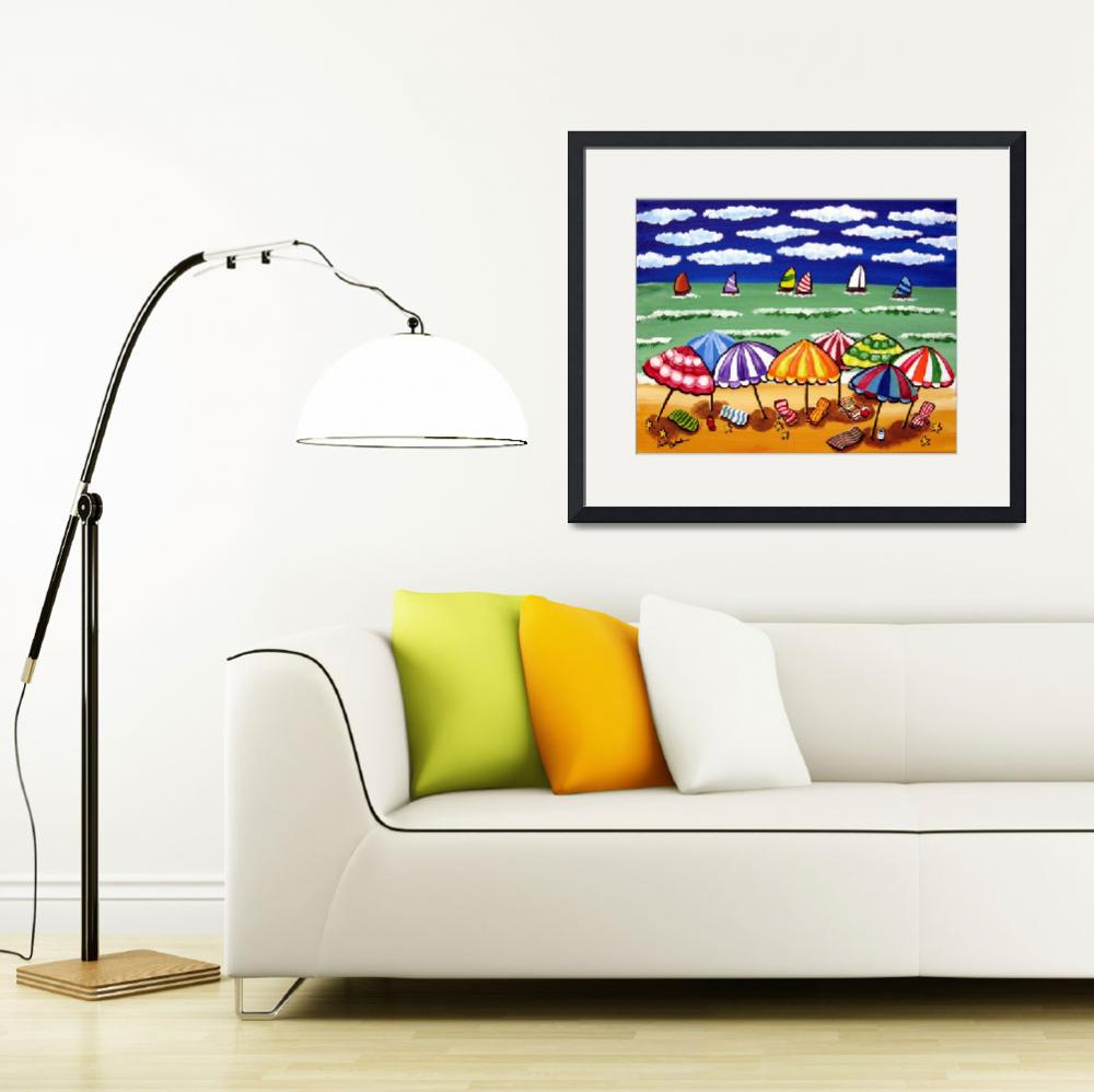 """Whimsical Beach Scene&quot  (2009) by reniebritenbucher"