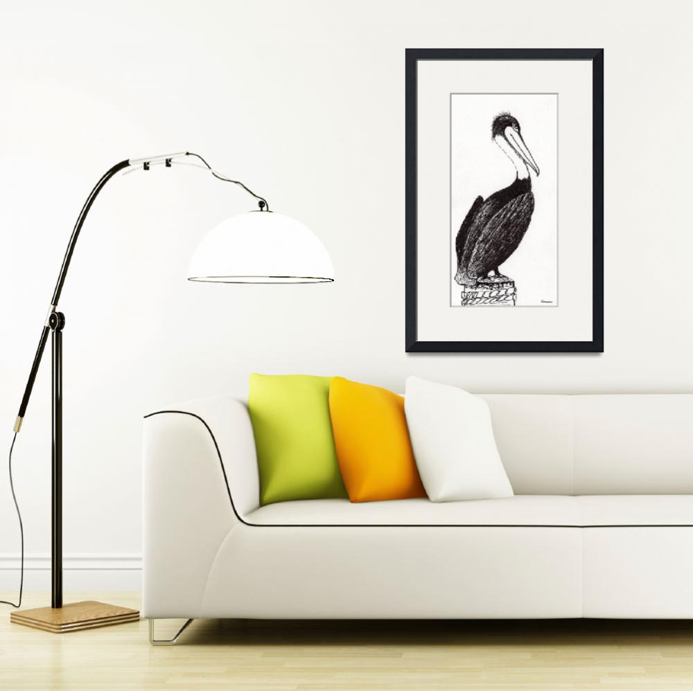 """Pelican Paradise Portrait in Ink C2L&quot  (2016) by Ricardos"