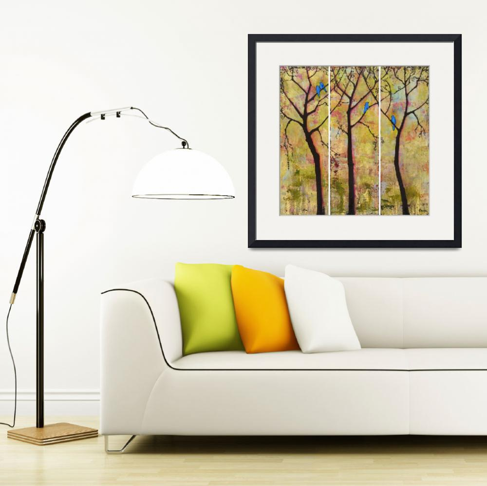 """Birds in Trees Triptych Art Painting&quot  (2008) by BlendaStudio"