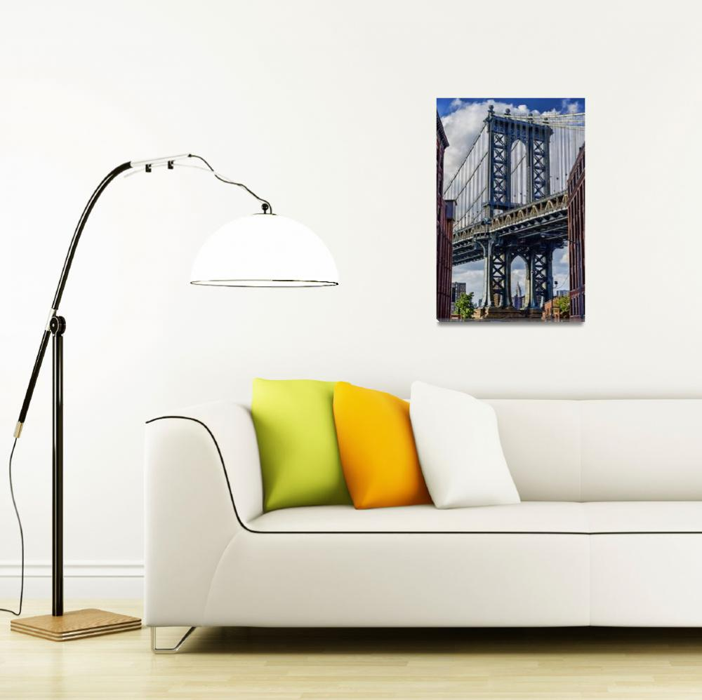"""Manhattan Bridge with the Empire State Building&quot  (2014) by New-Yorkled"