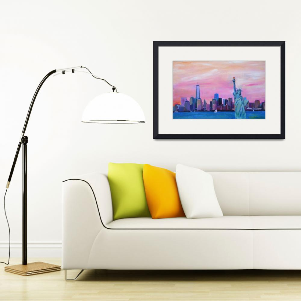 """Manhattan Skyline with Downtown Skyline Lady Liber&quot  (2015) by arthop77"
