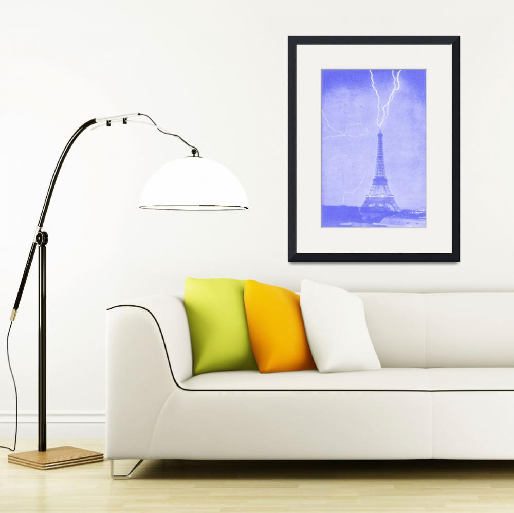 """Eiffel Tower Struck by LIghtening Blue&quot  (2013) by TheNorthernTerritory"