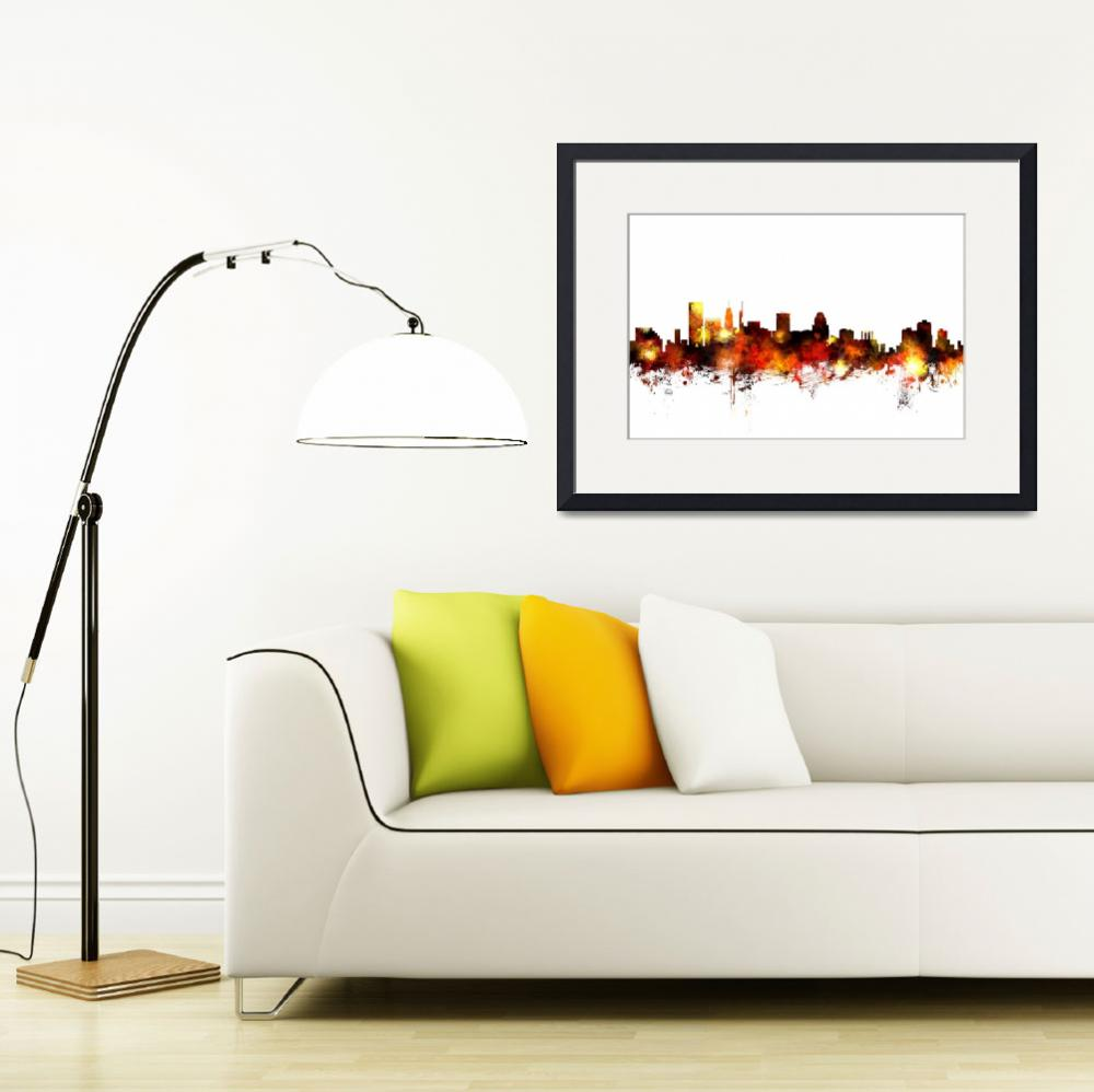 """Baltimore Maryland Skyline&quot  (2015) by ModernArtPrints"