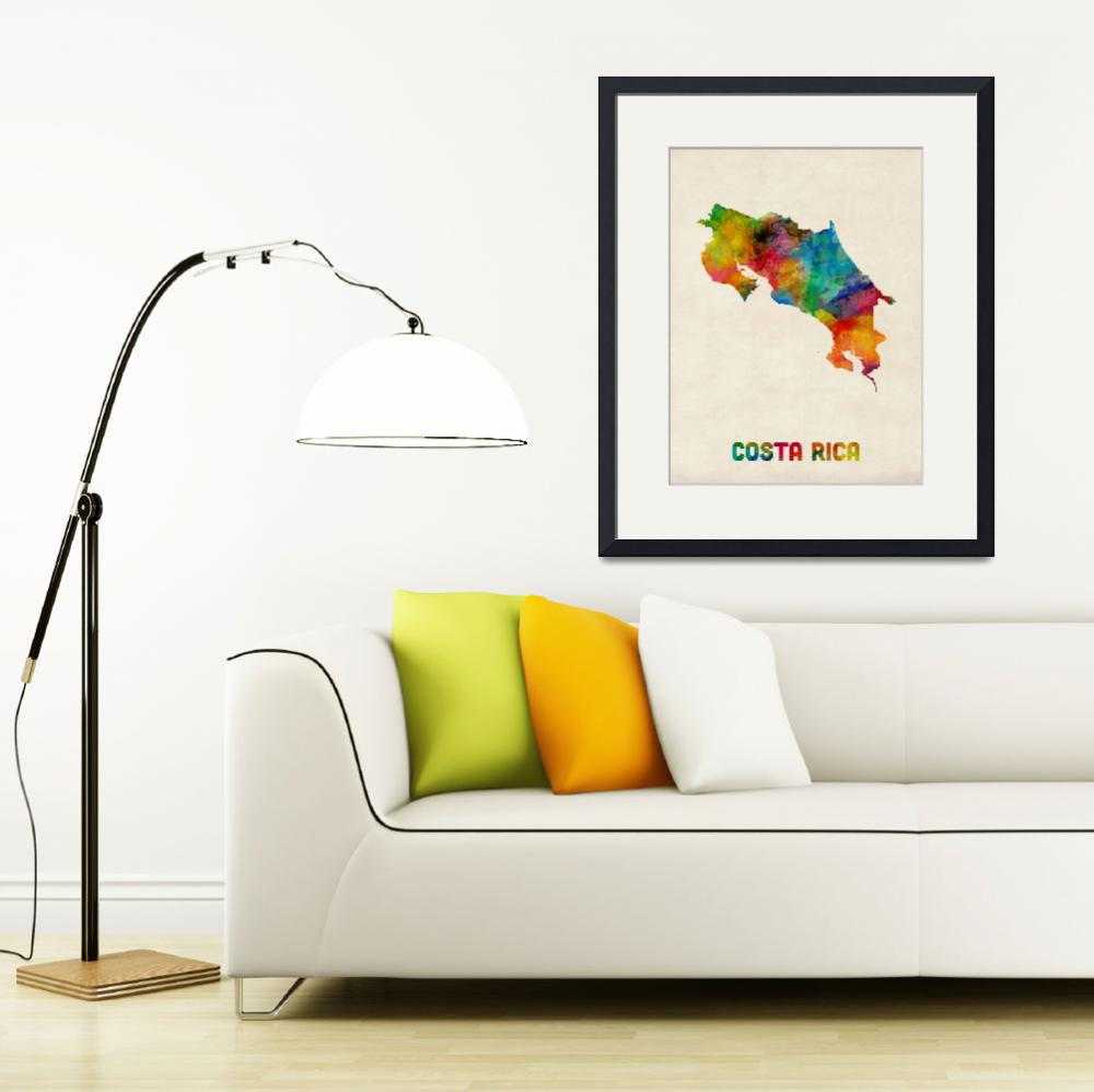 """Costa Rica Watercolor Map&quot  (2014) by ModernArtPrints"