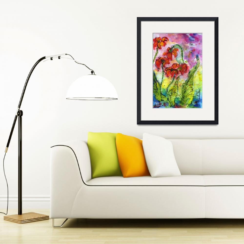 """Parrot Pitcher Plant Nature Flower Painting&quot  (2012) by GinetteCallaway"