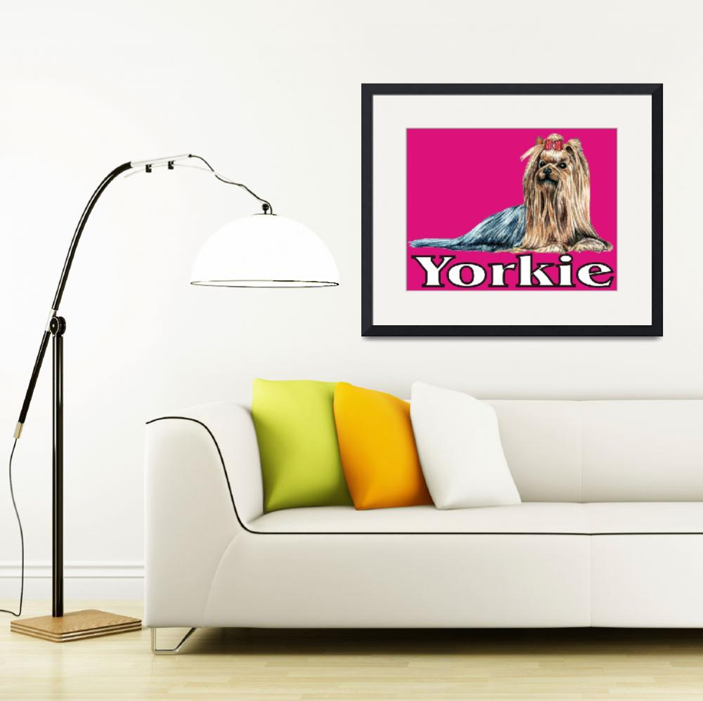 """Pink Pop Pup Yorkshire Terrier&quot  (2009) by KathleenSepulveda"