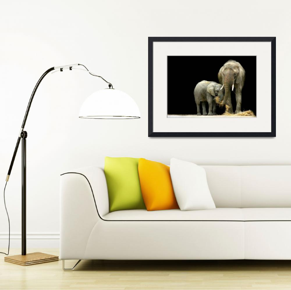 """African Elephants with baby....""Feeding Time""&quot  (2009) by StephieButler"