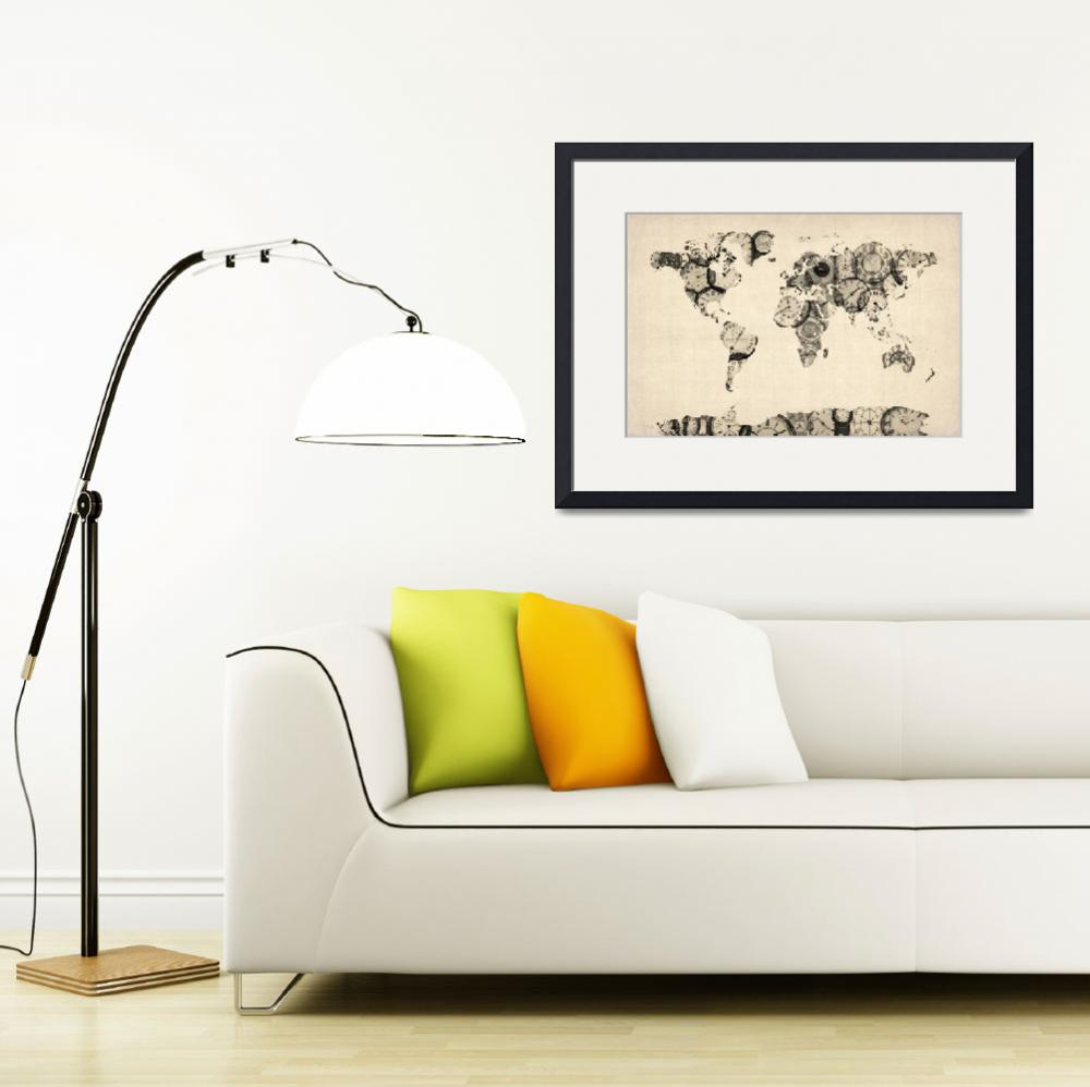 """Map of the World Map from Old Clocks&quot  (2012) by ModernArtPrints"