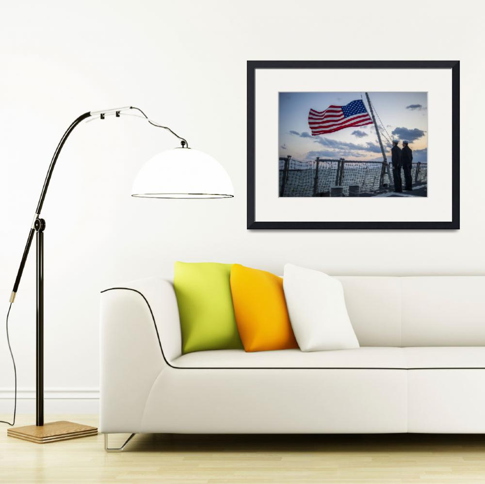 """Sailors lower the ensign US Flag , US Navy&quot  by motionage"