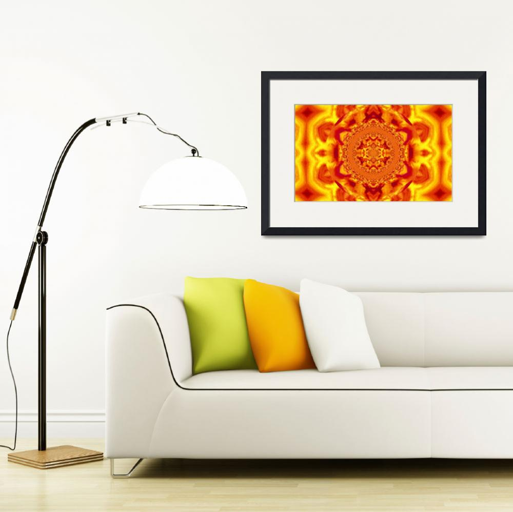 """Lotus Mandala in Deep Orange and Yellow Pastels&quot  by Atlantis-Seeker-Art"