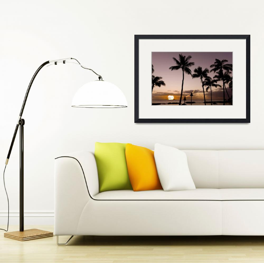 """Signed-Hawaiian-Beach-Tiki-Sunset&quot  (2009) by johnlund"