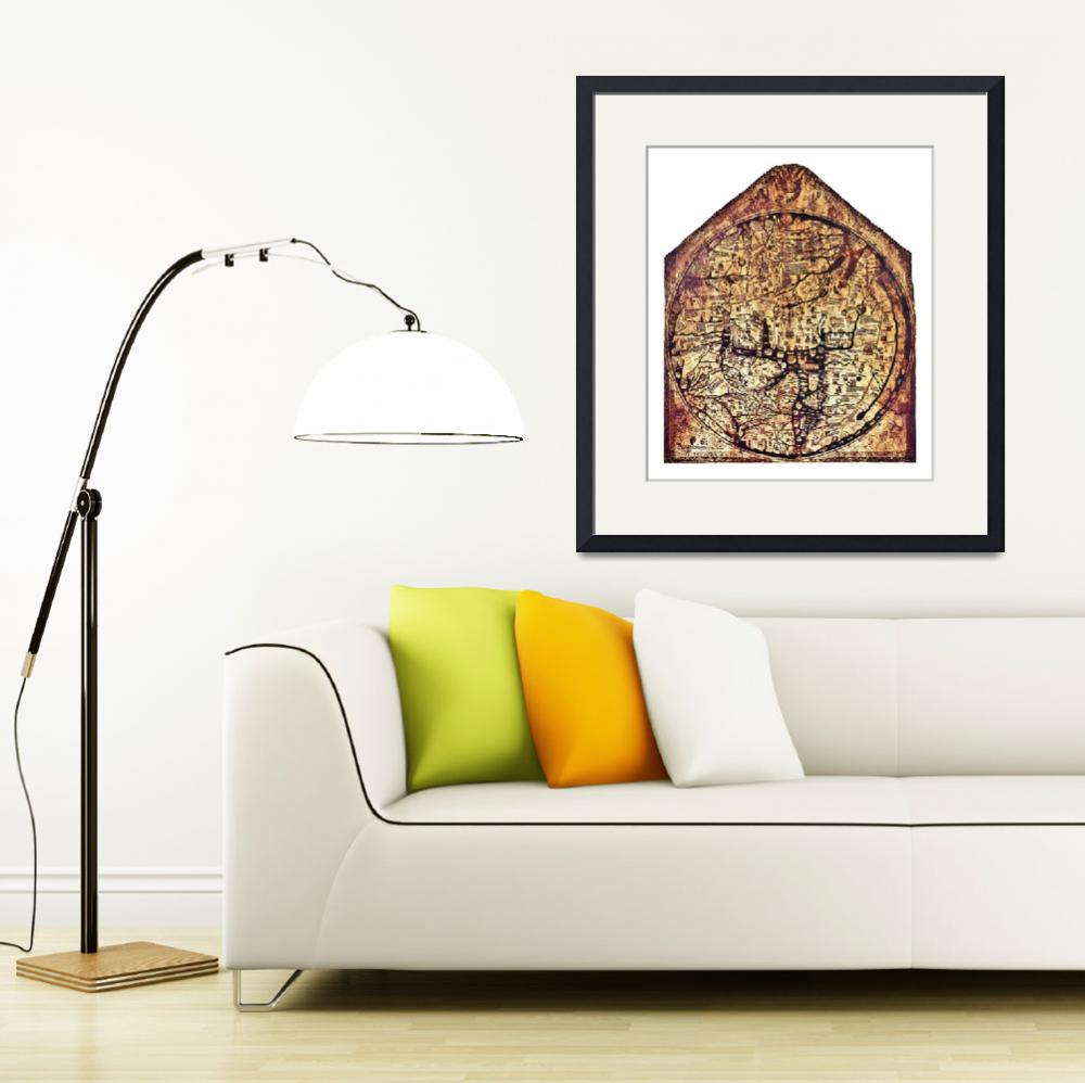 """Hereford Mappa Mundi with small white borders&quot  (2013) by TheNorthernTerritory"