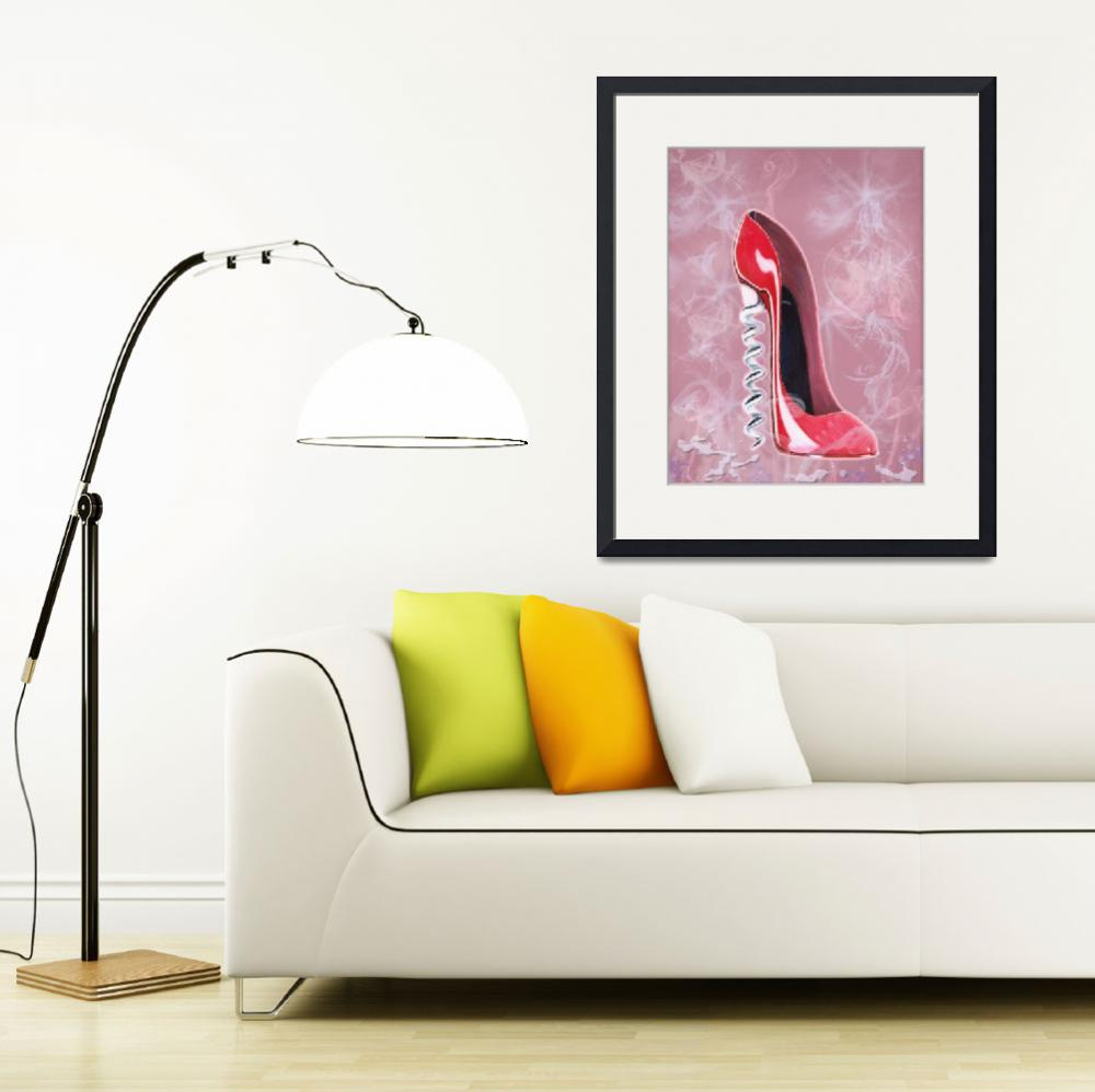 """Modern stiletto shoe corkscrew heel art&quot  (2011) by carolekeen"