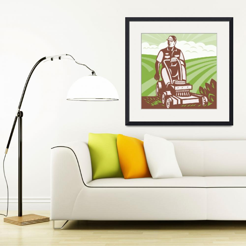 """Gardener Landscaper Riding Lawn Mower Retro&quot  (2013) by patrimonio"