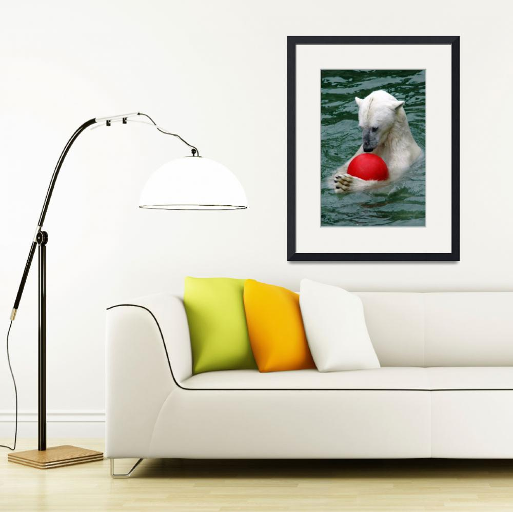 """Ice Bear playing with red ball&quot  (2010) by baechlergallery"