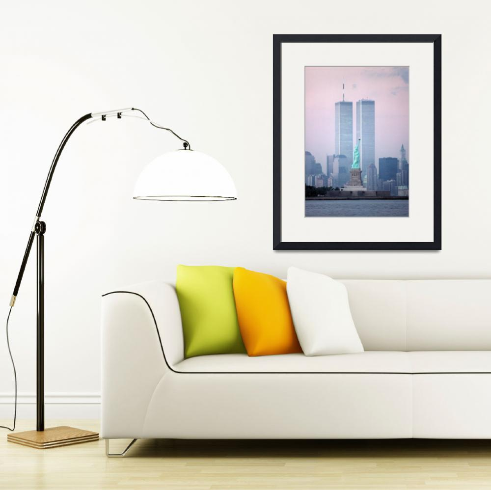 """World Trade Center & Statue of Liberty&quot  by christopherboswell"