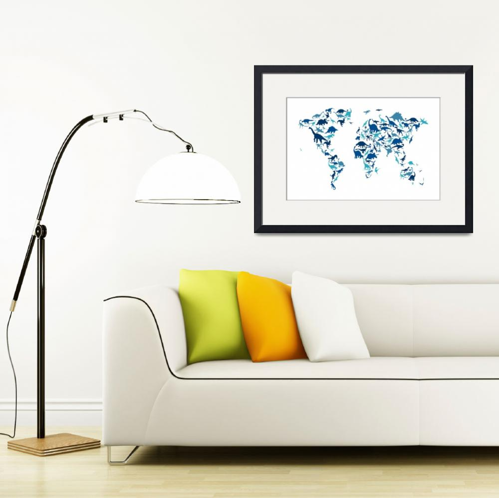 """Dinosaur Map of the World Map&quot  (2013) by ModernArtPrints"