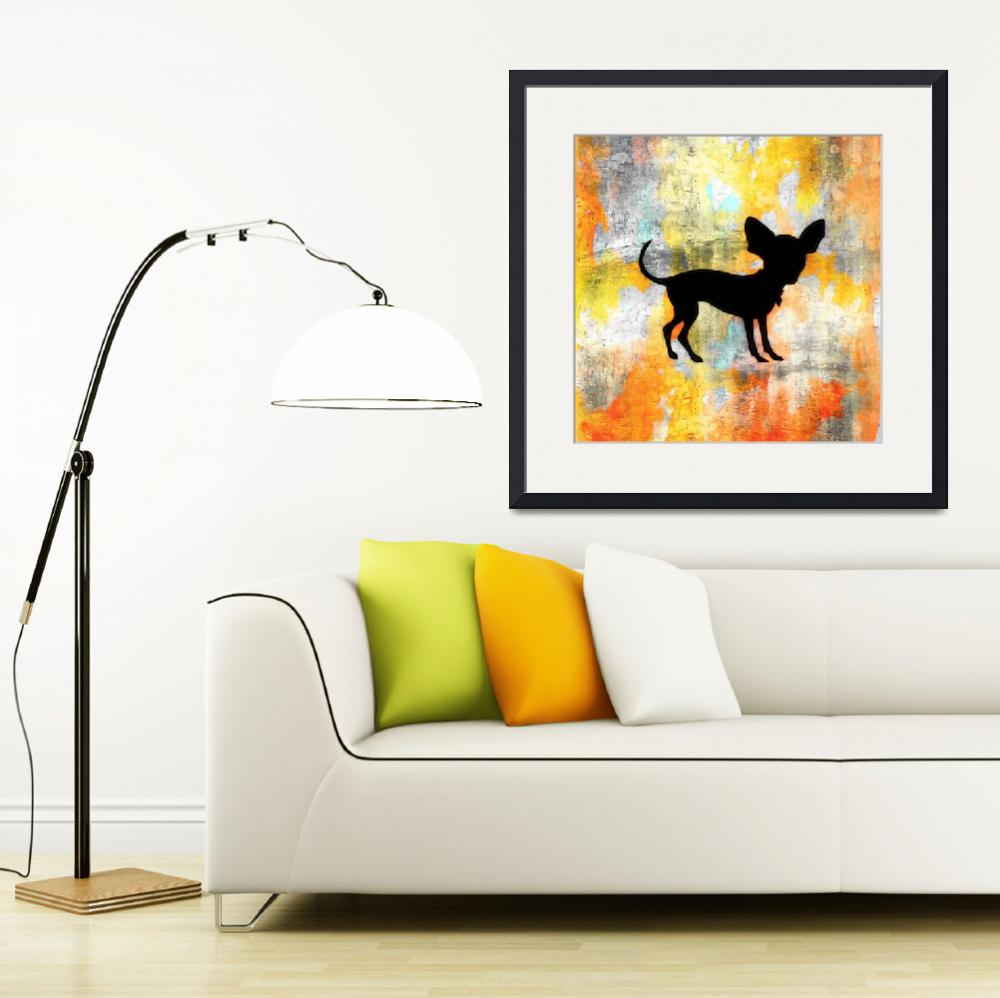 """Chihuahua Silhouette on Citrus Colorwash&quot  (2013) by SignaturePromos"