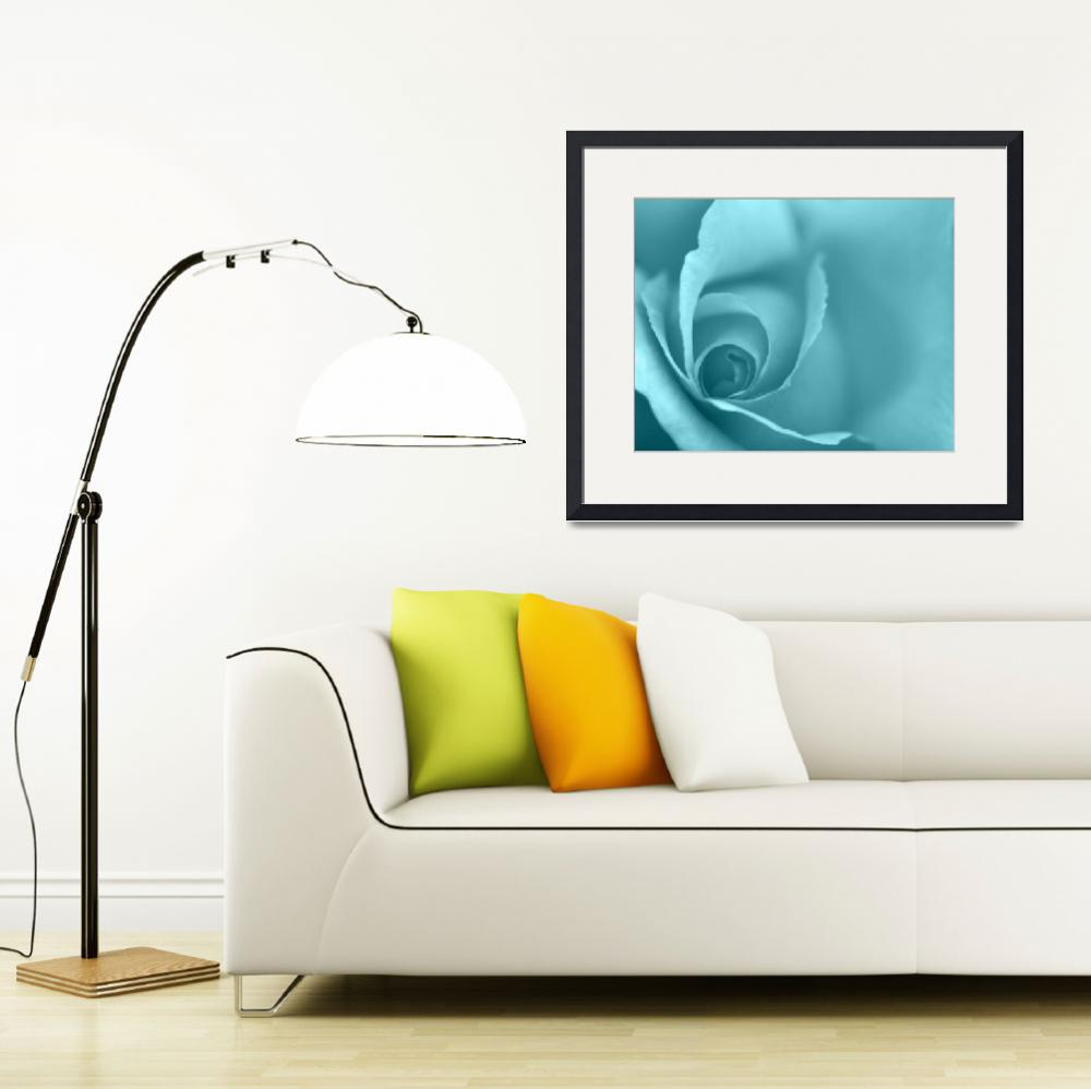 """Pale Turquoise Floral Wall Art&quot  (2012) by NatalieKinnear"