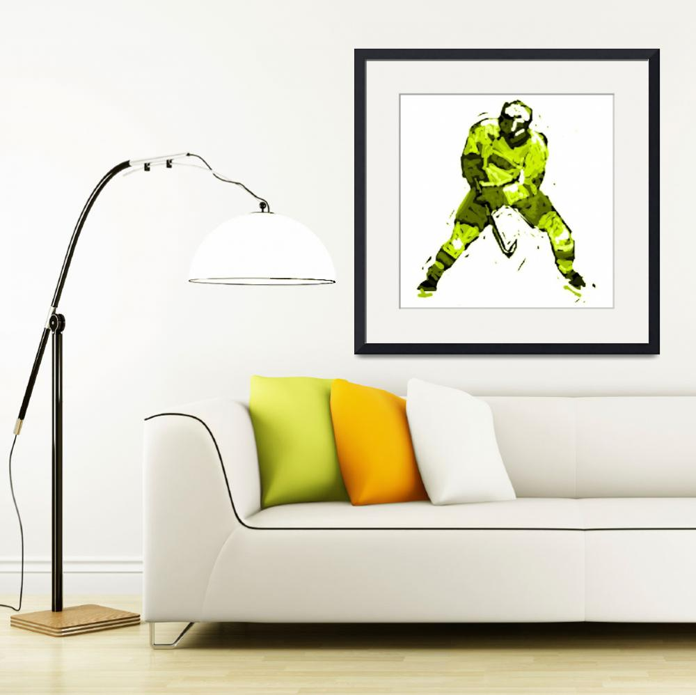 """Hockey Defenseman yellow green (c)&quot  (2014) by edmarion"