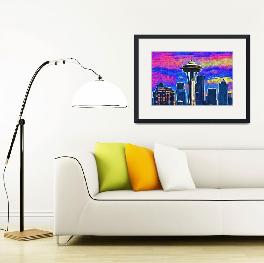 """Space Needle Colorful Sky&quot  (2015) by Kirtdtisdale"