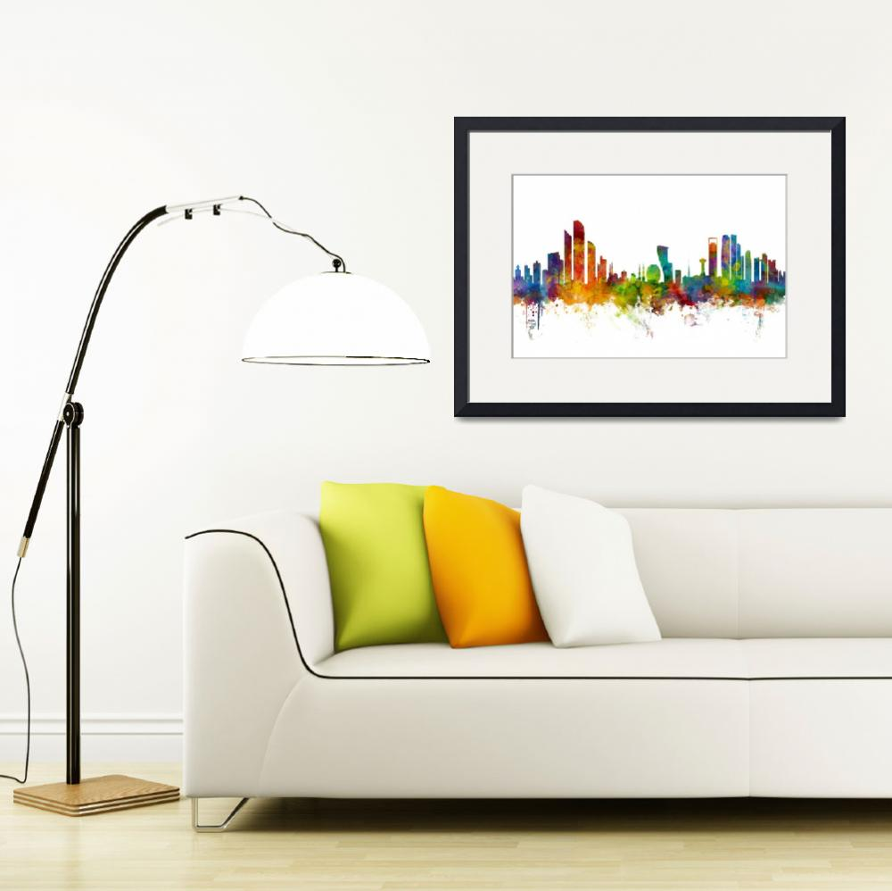 """Abu Dhabi Skyline&quot  (2016) by ModernArtPrints"