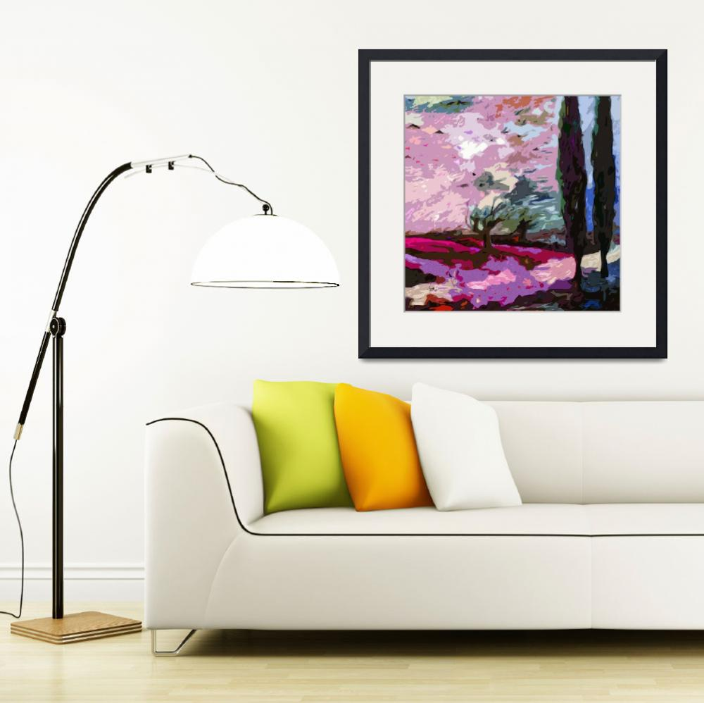 """Abstract Landscape Cypress Trees Lavender&quot  (2012) by GinetteCallaway"