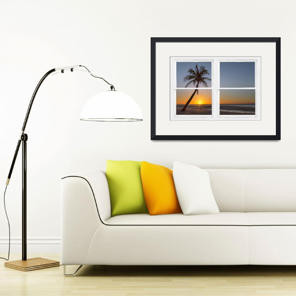 """Tropical Paradise Sunrise Whitewash Window View&quot  (2016) by lightningman"