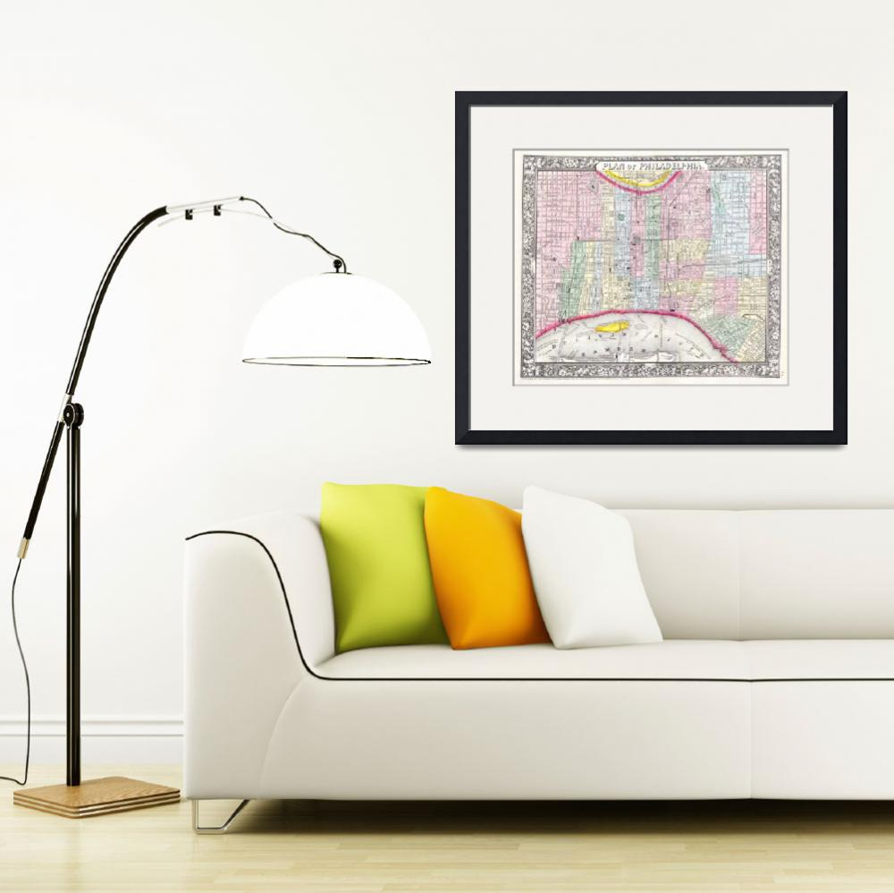 """Vintage Map of Philadelphia Pennsylvania (1860)&quot  by Alleycatshirts"