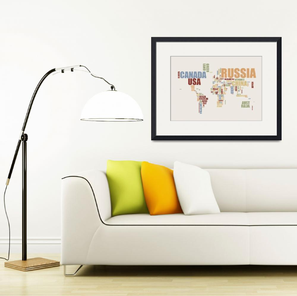 """World Map in Words 2&quot  (2010) by ModernArtPrints"