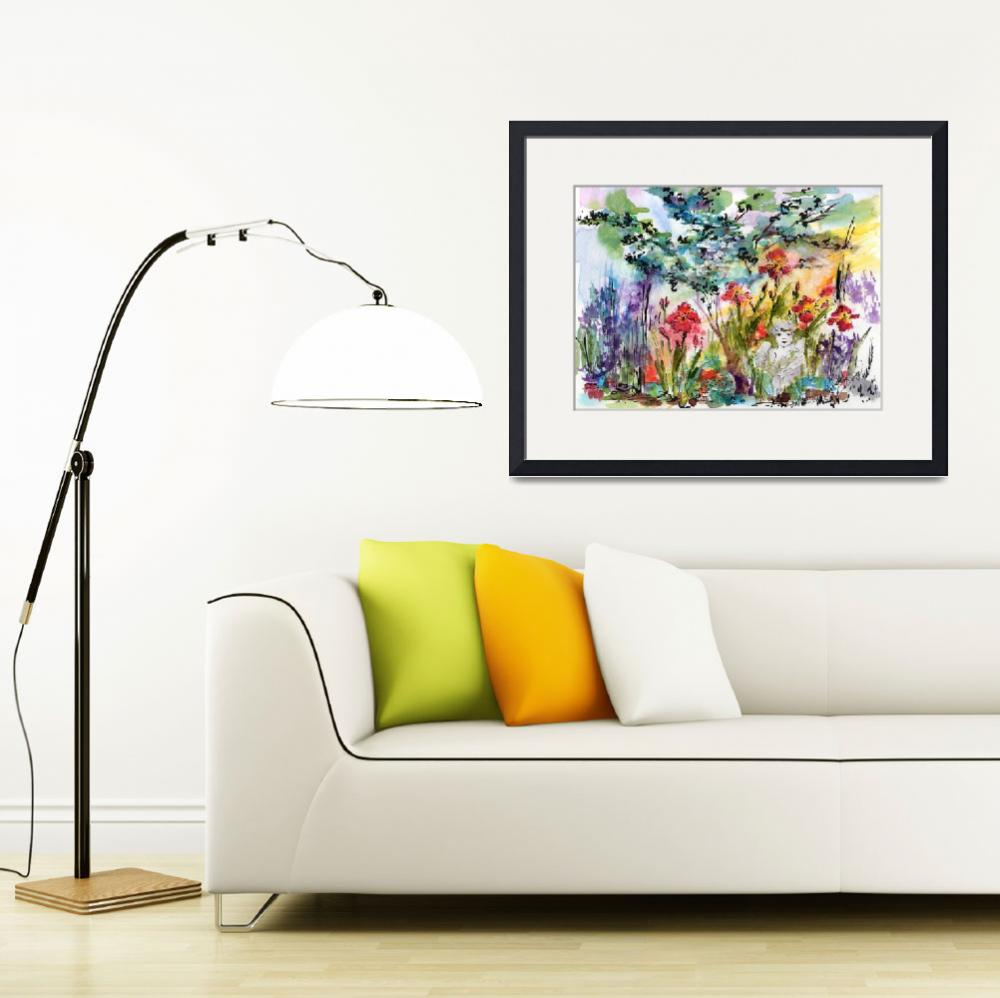 """Angel Garden Summer Flowers Watercolor&quot  (2016) by GinetteCallaway"