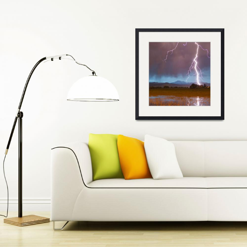 """Lightning Striking Longs Peak Foothills 5 Crop&quot  (2012) by lightningman"