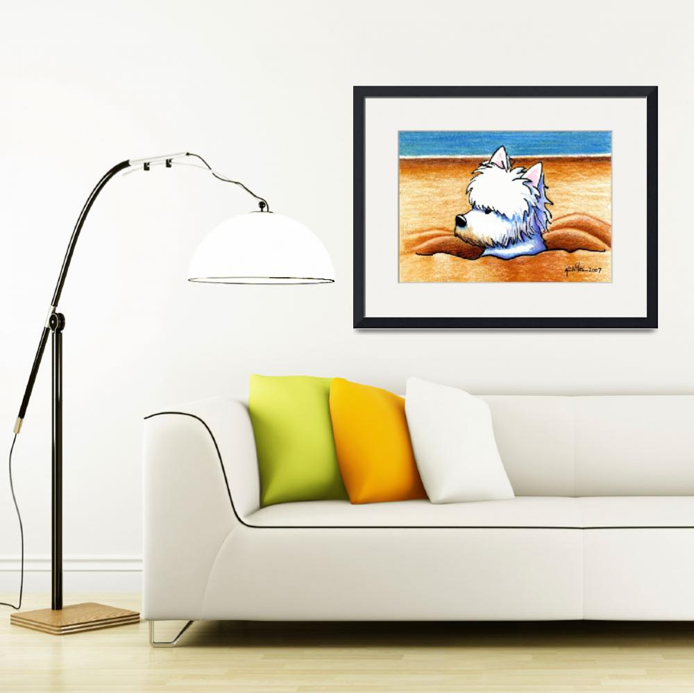 """Beach Digging Westie&quot  (2007) by KiniArt"