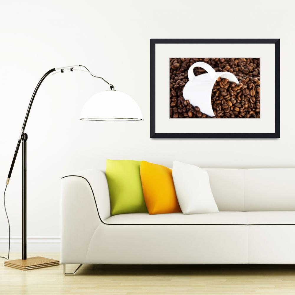 """Coffee beans and coffee cup&quot  by Piotr_Marcinski"