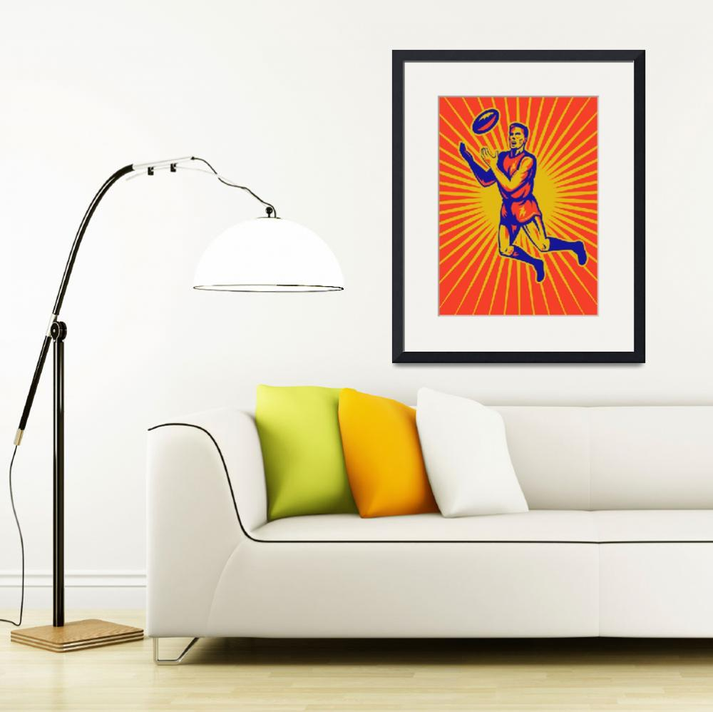 """aussie rules player jumping catching ball&quot  (2013) by patrimonio"