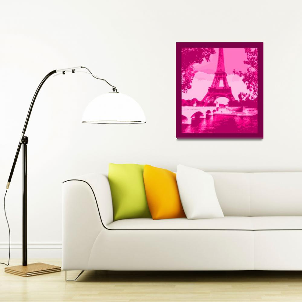 """Eiffel Tower Seine River Enhanced Pink Cropped bor&quot  (2013) by TheNorthernTerritory"