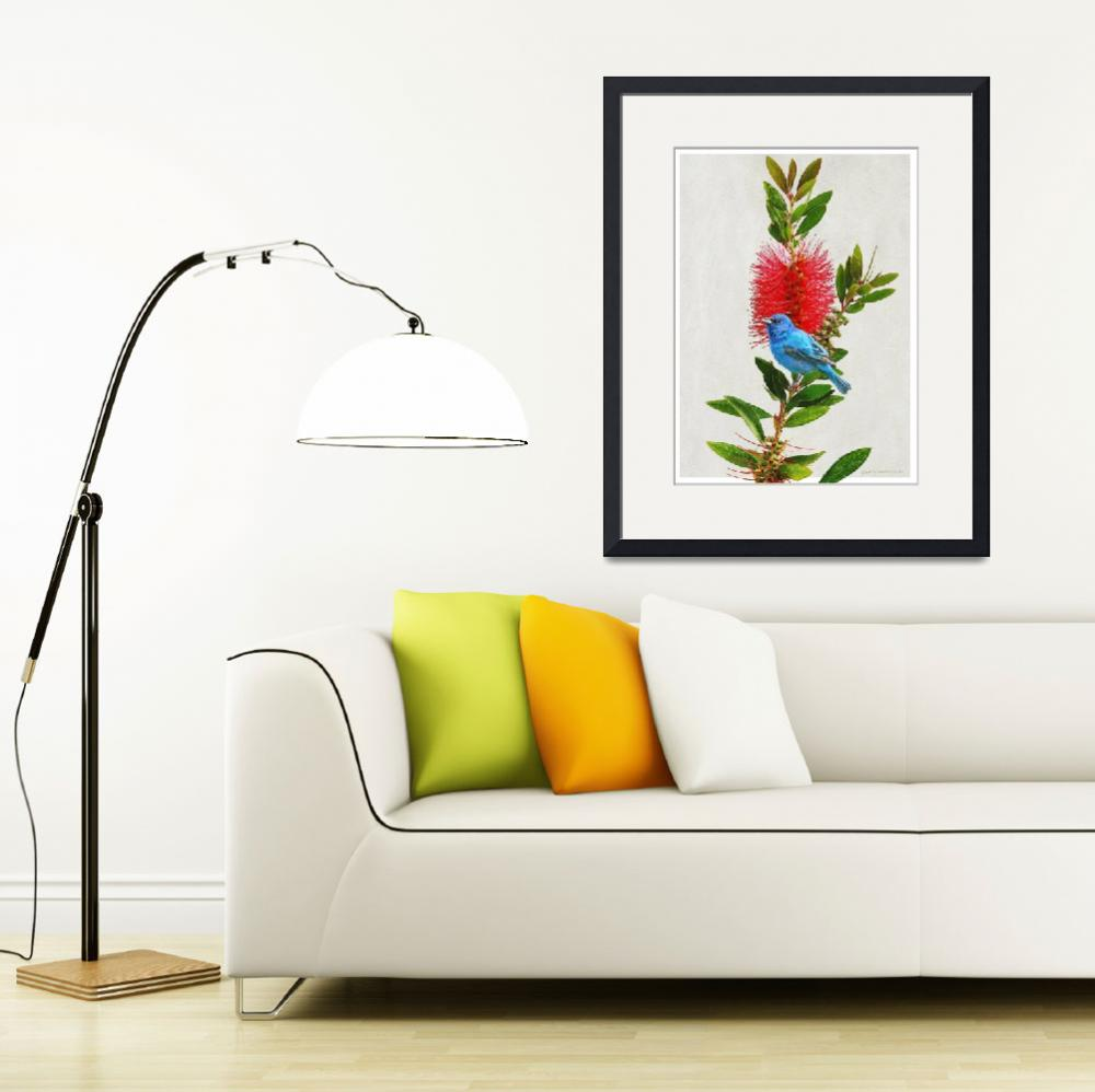 """red flower indigo bunting&quot  (2014) by rchristophervest"