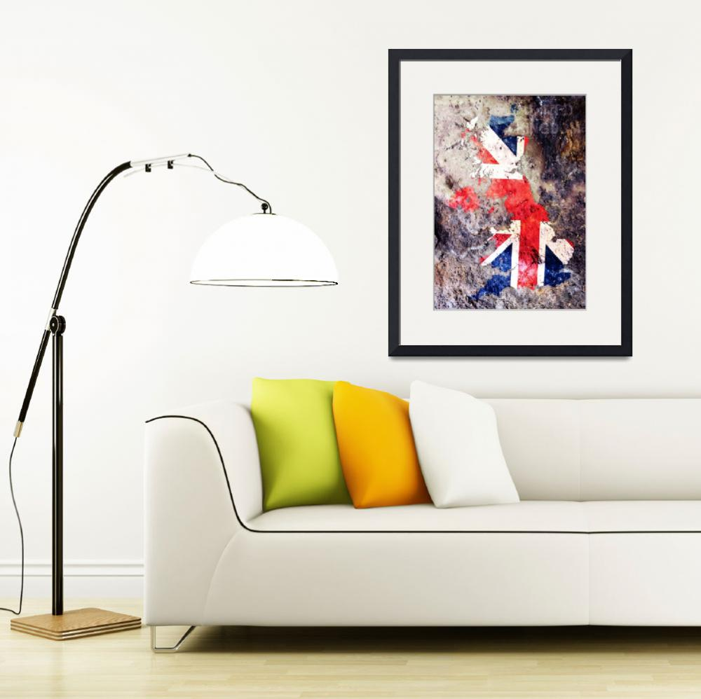"""UK Flag Map&quot  (2010) by ModernArtPrints"