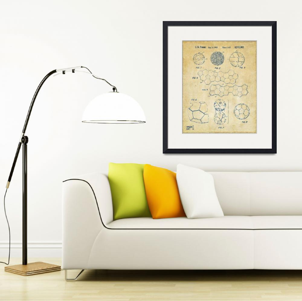 """Soccer Ball Construction Patent Artwork Vintage&quot  (2014) by nikkismith"